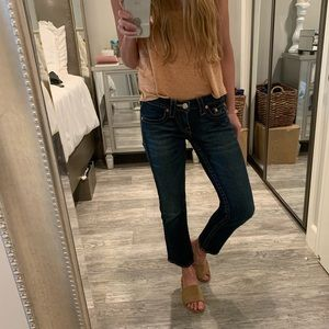 True Religion straight leg cropped jeans